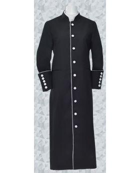 Women's Clergy Robe - Black/White Trim