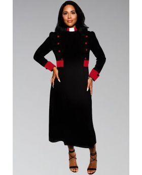 Designer Black Clergy Dresses with red contrast