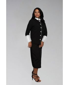 Women's Clergy Suit in Black with White Satin Cuffs