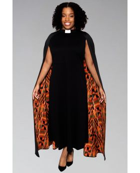 Women's Modern Clergy Dress Black with Kente Cape