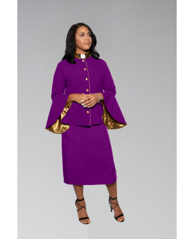 Suit Avenue Women's Clergy Suit - Purple/Gold Flared Sleeve