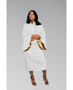Ladies White and Gold Clergy Suit with flared sleeves