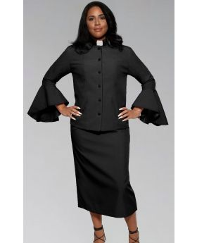Ladies Black on Black Clergy Pastor Suit