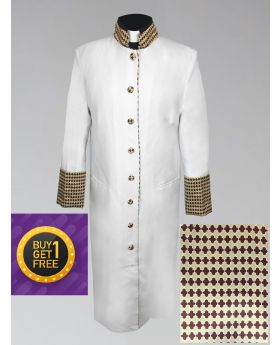 *Cyber Monday* Women's Clergy Robe - White with Custom Holiday Theme Brocade