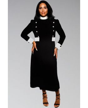 Bishop Full Neckband Collar Clergy Dress for Women in Black and White